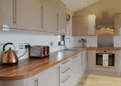 The open plan kitchen at Castle Farm, Tufton