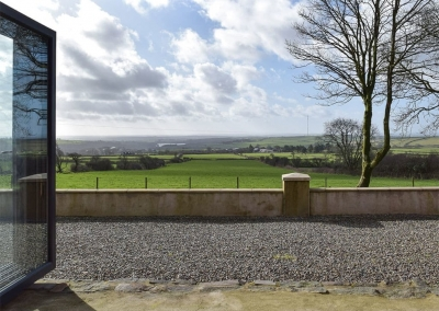 The view from the open plan living & dining area at Castle Farm, Tufton