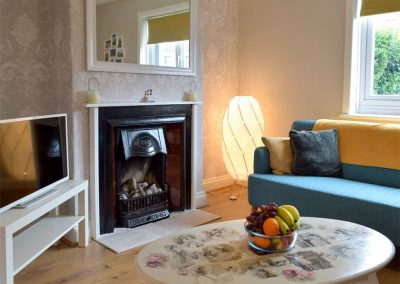 The living area at Hafan, Tenby