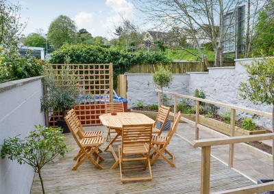 The decked terrace & courtyard at Holly Cottage, Haverfordwest