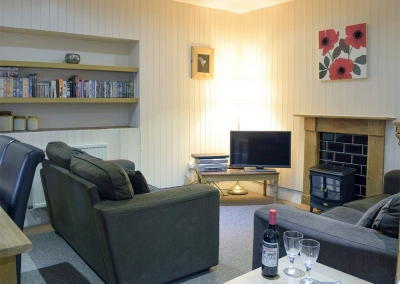 The living area at Lake Cottage, Ivy Court Cottages, Llys-Y-Fran