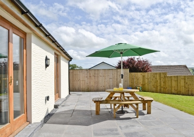 The patio at Llanlliwe Cottage, Henllan Amgoed