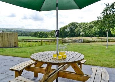 The patio & garden at Llanlliwe Cottage, Henllan Amgoed