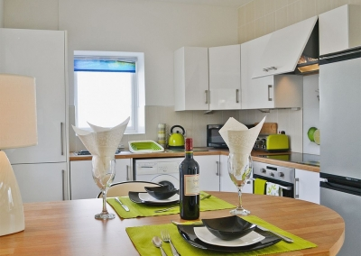 The open plan dining area & kitchen at LLwynbedw, St Dogmaels