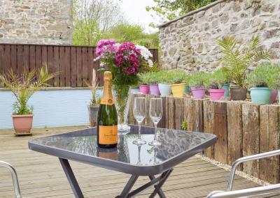 The decked patio at LLwynbedw, St Dogmaels