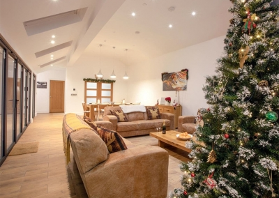 The living area at Manor Lodge Stables, Wiston is beautifully decorated for Christmas