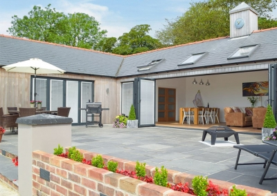 The patio at Manor Lodge Stables, Wiston