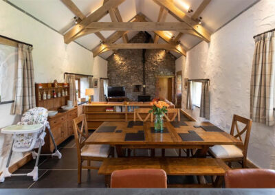 The dining area at Orchard Barn, St Florence