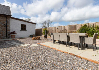 The patio & alfresco dining area at Orchard Barn, St Florence