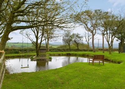 The garden & pond at Penfeidr Cottages, Glanrhyd