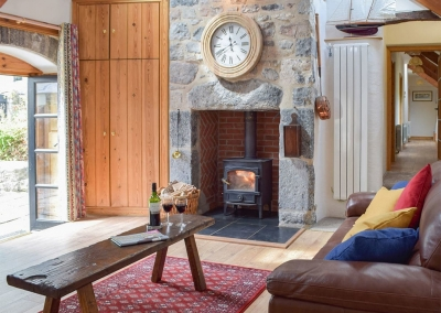 The living area at The Byre, Lyserry Barns, St Twynnells