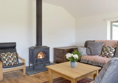 The living area at Valley View Barn, St Twynnells