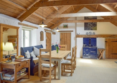 The dining area at Valley View Barn, St Twynnells