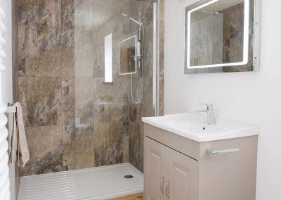 The shower room at Valley View Barn, St Twynnells