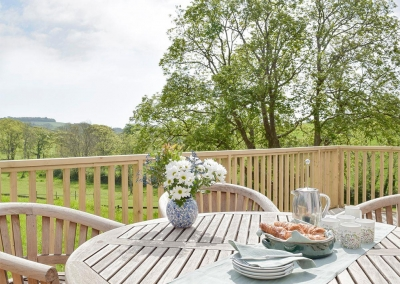 The decked patio & garden at Valley View Barn, St Twynnells