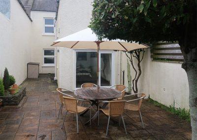 The patio & barbecue area at Y Traethdy, Tenby